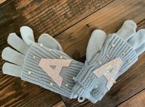 Justice nwt girls blue initial double layer gloves Mittens *YOU PICK* A B K M S