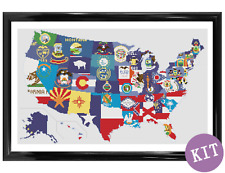 Flags of the USA - Map Cross Stitch Kit