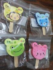 Cute Ice Cream Popsicle Erasers Lot - Cat Frog Bear Monkey