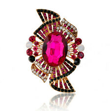 Elegante stile vintage rosa fucsia rosa cristallo diamante grande SPILLA PIN BR285