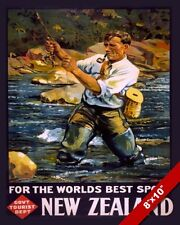 VINTAGE 1930 NEW ZEALAND MAN FLY FISHING TOURISM POSTER ART REAL CANVAS PRINT