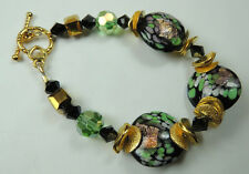 crafted Black Lampwork Bracelet with Gold Flecks & Cube Round & Bicone Crystals