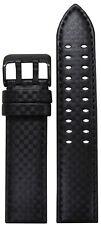 24mm PM Black Carbon Fiber Watch Strap w/ Black Stitch & Double Tang PVD Buckle