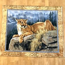 Millette Quilted Wall Hanging Art Decor Cougar Forest Wildness Cabin Lodge