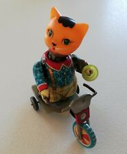 Red China Tin Toy Wind Up Clockwork Cat