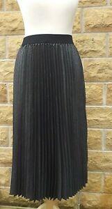 Ladies Grey Silver Pleated long Skirt UK16
