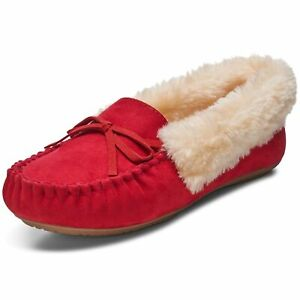 AlpineSwiss Leah Womens Shearling Moccasin Slippers Faux Fur Slip On House Shoes