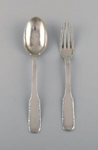 Evald Nielsen Number 25 dinner fork and tablespoon in silver (830). 1920s.