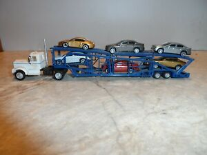 HO SCALE CUSTOM TRACTOR AND AUTO HAULER  TRAILER WITH 6 AUTOMOBILES