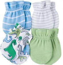 GERBER NEWBORN BABY BOY'S 4-Pack Cotton Mittens - DINOSAURS - Blue Green - NWT