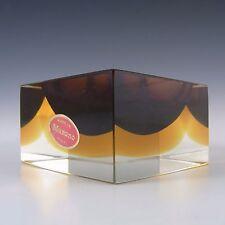 Murano Facetado marrón y bloque de vidrio de color ámbar Sommerso Tazón de fuente