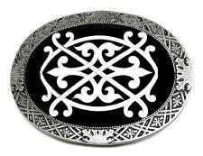 Celtico Ovale Fibbia della Cintura Nodo Tribale Scudo Drago Bianco Nero Autentico Designs