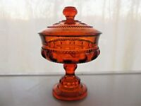 Indiana Colony Glass Amber Kings Crown Compote & Cover