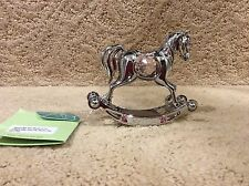 Crystocraft Pink Rocking Horse Figurine With Crystals baby shower cake topper