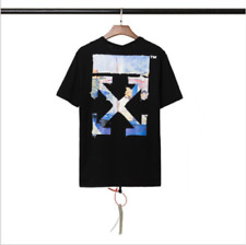 OFF WHITE OW oil painting arrow print Short Sleeve tee Top Unisex casual T-Shirt