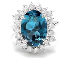 6.90 Carats Natural LONDON BLUE TOPAZ and Diamond 14K White Gold Ring
