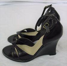 "Black leather 4"" wedge heel ankle strap sandal shoes FAITH Size UK 7"