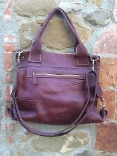 Leather Shoulder Bag Big Size Bordeaux - Borsa a spalla in pelle grande bordeaux