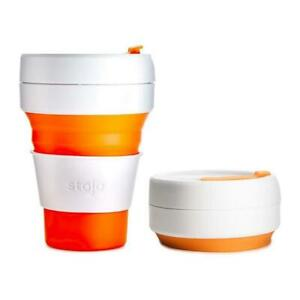 Stojo On The Go Coffee Cup, Pocket Size Collapsible Silicone Travel Mug - Orange