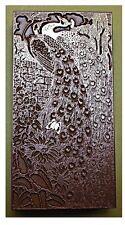 """estilo Art Nouveau Pavo Real bloque de impresión""."
