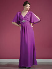 L-PURPLE FORMAL MODEST MOTHER OF THE BRIDE GROOM DRESS EVINING GOWN Size 3XL NEW