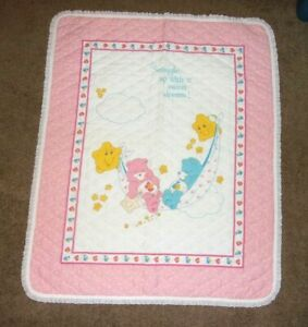 Care Bears Quilt Blanket Wall Hanging Vintage Pink White Clouds Lace Trim 44x35