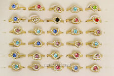 10pcs Jewelry Rhinestone Gold Plated Fashion Woman Gift Rings Wholesale Lot FREE