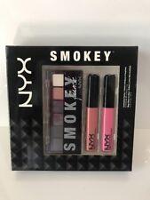 NYX Smokey Set- Eyeshadow Palette + 2 Mega Shine Lip Gloss- NIB