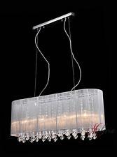 Lámpara Colgante 70cm 4x40w Tela Blanco Cristal Largo Grande