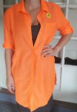 BEACH SHIRT  COVER UP SIZE MEDIUM uk 14=16 IN ORANGE NEW WITH TAGS