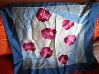 "TRUE VTG 30x32"" SILK/RAYON PURPLE/BLUE DECO PRINT scarf"