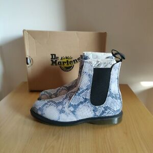 Dr Martens Kensington Flora Snakeskin Light Grey Blue Chelsea Boot Size UK 6.5
