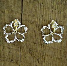 Hawaiian 925 Sterling Silver Cut-Out 2 Tone Hibiscus Flowers CZ Earrings SE53325