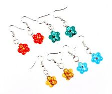 Wholesale 4Pair Charms Flower Murano Glass Lampwork Bead Silver P Earrings FREE