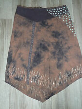 Zipfel ROCK - Batik Look - Stickereien Pailletten - braun - * CREAM * - Gr. 42