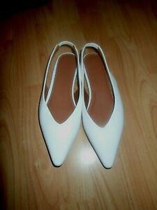 ASOS DESIGN Lacy Sling Back Ballet Flats in White Lizard UK Size 4 Eur 37 BN