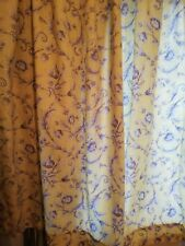 Vintage French Country blue & yellow floral Toile Cotton lined curtains handmade