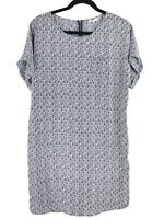 Caslon Women's M Blue Print Cuffed Short Sleeve Woven Shift Dress Tunic Spring