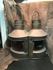 Vintage Nautical Copper Port And Starboard Kerosene/Alcohol/Oil Lamps.1940s.Wow!