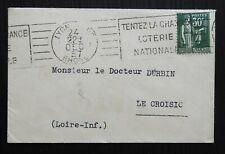 As45* Petit Enveloppe Avec Flamme de 1937 Loterie Nationale sur type Paix n°280