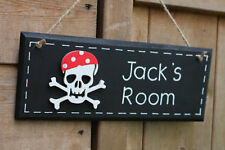 Pirate door signs name plaque skull and crossbones