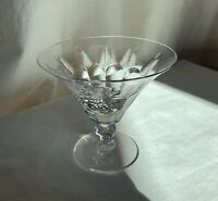 Libbey American Brilliant Cut martini/champagne glass 1930s.Ferns, diamonds cut.