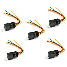 5X 12V 30/40 Amp SPDT Automotive Relay with Wires & Harness Socket