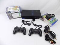 Ps2 Playstation 2 Bundle Fat Console + 2x Controllers + 15x Kids Games + Eye Toy
