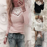 Womens Lace Crochet Cold Shoulder Long Sleeve Blouse Ladies Casual T-Shirt Tops