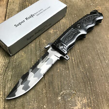 "8 3/4"" Spring Assisted Open Urban Camo Tactical Rescue Emergency Folding Knife"