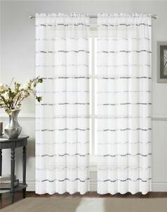 Colorful Stripe Sheer Semi transparent Curtain Window Door Voile Panel 2Curtains