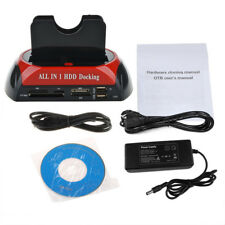 All in 1 IDE SATA Dual Hard Drive HDD Docking Station Dock USB HUB + Card Reader