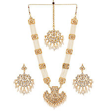 Jwellmart Indian Gold Polish Faux Pearl Kundan Stone Rani Haar Necklace Set