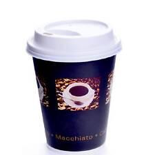 Coffee to go Becher Kaffeebecher 200 Stk. 24 cl Bean Pappbecher mit Deckel weiß